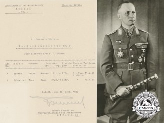 An Preliminary Award List Signed by Field Marshal Rommel 1942