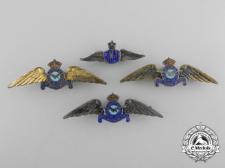 Four Royal Canadian Air Force (RCAF) Sweetheart Wings Badges