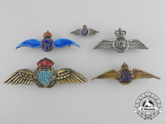 Five Royal Canadian Air Force (RCAF) Sweetheart Wings Badges