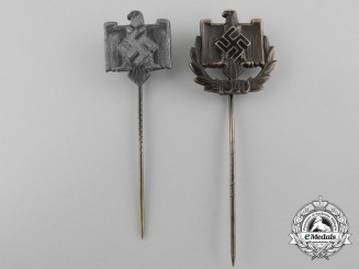 Two National Socialist League of the Reich for Physical Exercise Performance Stickpins