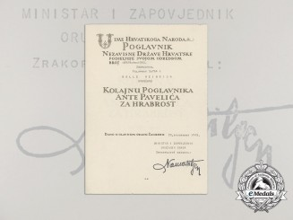 A Formal Croatian Document for the Award of the King Zvonimir Medal