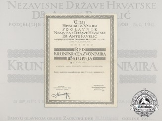 A Formal Croatian Document for the Award of the King Zvonimir Order; Third Class with Swords