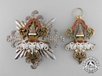 An Order of the Million Elephants & Parasol of the Kingdom of Laos; Grand Cross Set of Insignia