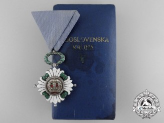 An Order of the Yugoslav Crown; Fifth Class with Case by Huguenin Freres