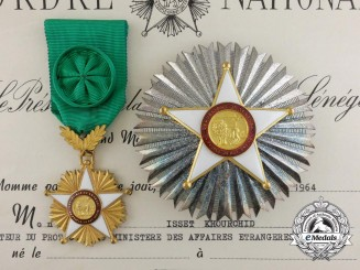 An Order of the Lion of Senegal; Grand Officer Set with Award Document