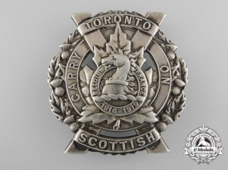 A First War Toronto Scottish Officer's Glengarry Badge in Silver