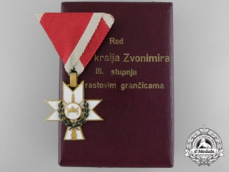 A 1941-45 Croatian Order of King Zvonimir with Oakleves; Third Class with Case