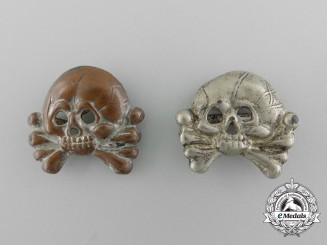A Pair of Early Panzer Collar Tab Skulls