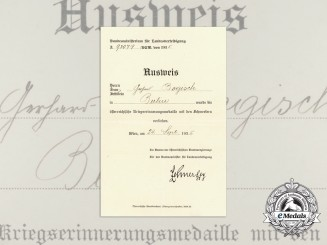 A 1935 Austrian War Commemorative Medal  Award Document