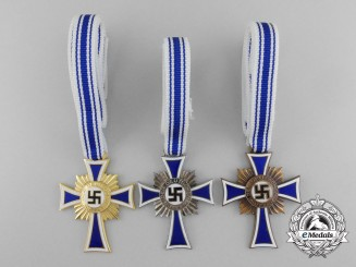 Three Crosses of Honour of the German Mother; Gold, Silver & Bronze