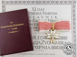A Second War Croatian King Zvonimir Order 1st Class with Award Document to Oberst Alfred Grampe