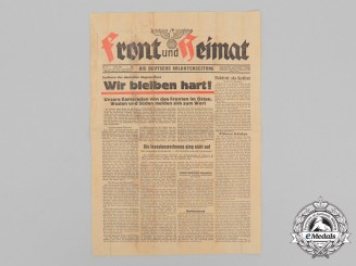 """A 1944 Issued """"Front and Homeland"""" Soldier's Newspaper; """"We'll remain strong"""""""
