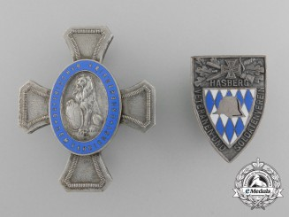 A Lot of Two Bavarian Veteran's Association Awards and Badges