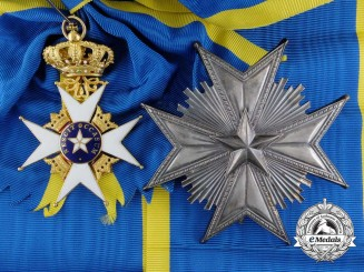 A Swedish Order of the North Star in Gold; Grand Cross Set by C.F. Carlman, Stockholm