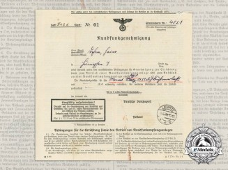 A 1938 German Broadcasting Permit for Radio Operation