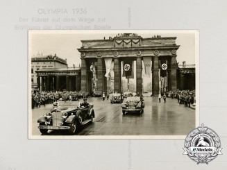 A 1936 Postcard of AH At the Brandenburg Gate Opening the Olympic Games