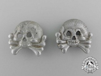 Two Army Panzer Collar Tab Skulls