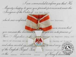 A Prussian Red Eagle Order; 2nd Class in Gold to British Recipient