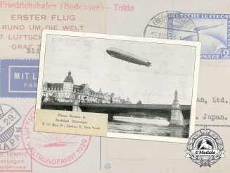"A Postcard to Japan Carried by the airship ""Graf Zeppelin"" on its First Flight"