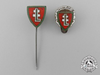 A Hungarian Levente Membership Stickpin and Badge