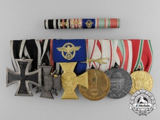 An Austrian Medal Bar With Six Awards with Ribbon Bar
