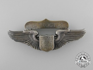 """An Unusual American """"Army C.P.T. Navy Instructor"""" Pilot's Wing"""