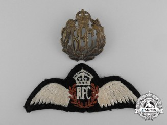 A Royal Flying Corps (RFC) Pilot Wing and Cap Badge