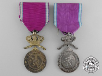 A Lot of Two Belgian Royal Order of the Lion Medals; Silver and Gold Grade