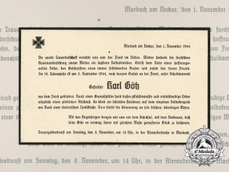 A Notice of Death of Corporal Karl Götz