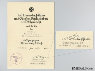 Clasp to the Iron Cross Second Class 1939 Award Document