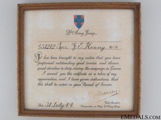 Commander-in Chief's Certificate for Good Service