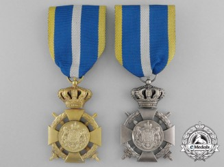 Two Romanian Loyal Service Cross with Crossed Swords; 1st and 2nd Classes
