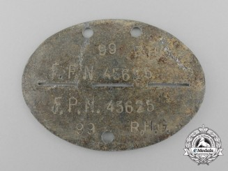 A Second War German ID Tag to the Rear Guard Army Group