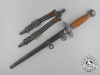 A 2nd Pattern Officer Luftwaffe Dagger by Tiger Solingen with matching Dagger Hangers