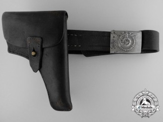 A Waffen-SS EM/NCO's Belt with Buckle and Holster