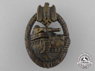 A Panzer Badge in Solid Tombac by Karl Wurster