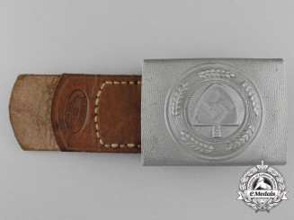 A Reichsarbeitsdienst Enlisted Man's Belt Buckle with Leather Tab by Ulbricht, Wien