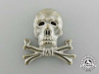 A Braunschweiger Totenkopf (skull) Officer's Cap Insignia for the Infantry Regiment Nr. 92 or Hussars 17