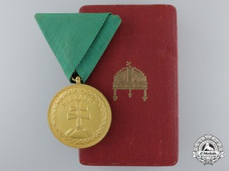 A Hungarian Bronze Merit Medal with Case