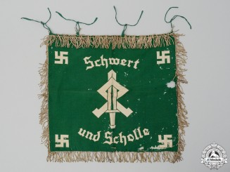"An HJ & League of German Girls ""Landjahr"" Farm Service Sword and Sod Trumpet Banner"