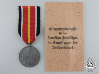 A Commemorative Medal of Spanish Blue Division with Paper pocket of Issue