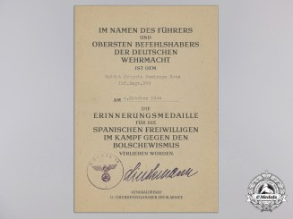 An Award Document for Commemorative Medal of Spanish Blue Division