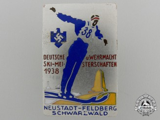 A1938Wehrmacht Ski Championships Badge by B.H Mayer