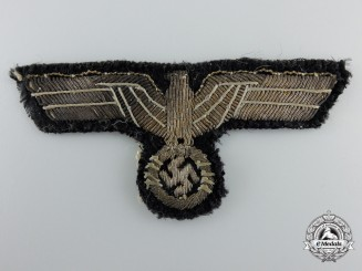 An Army-Panzer Style Breast Eagle on Black Wool Backing