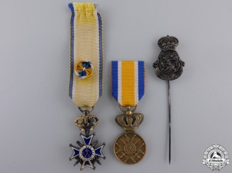 Four Dutch Miniature Orders, Medals, and Awards