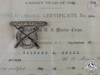 A Marine Corps Expert Rifleman Marksmanship Badge Named to Private Wilfred H. Knoll