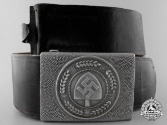 An Enlisted/ NCO's RAD Buckle 1938 with Belt by Friedrich Linden, Lüdenscheid