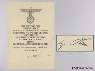 Honor Roll Document to Cpt.Salzmann who Attempted AH Assassination