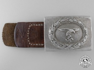 """A Luftwaffe Belt Buckle and Leather Tab; Marked """"Regiment H. Goering"""""""