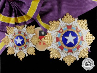 A Chinese Order of the Brilliant Star; 2nd Class Set with Case